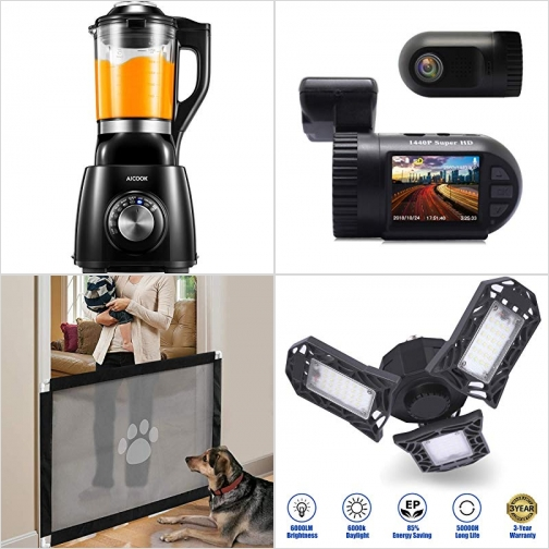 [Amazon折扣碼] 食物調理機, 行車記錄器, 寵物安全門, LED車庫燈 額外折扣!