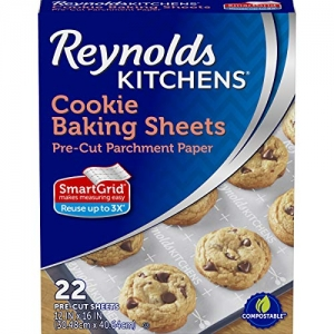 ihocon: Reynolds Kitchens Cookie Baking Sheets Parchment Paper (SmartGrid, Non-Stick, 22 Sheets)不沾烤盤紙