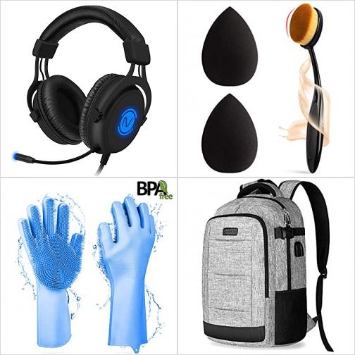 [Amazon折扣碼] 遊戲耳機, 化妝刷及化妝棉, 矽膠刷毛洗碗/清潔手套, 電腦背包 額外折扣!