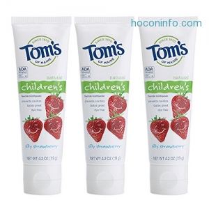 ihocon: Tom's of Maine Anticavity Fluoride Children's Toothpaste, Silly Strawberry, 4.2 Ounce, 3 Count兒童防蛀齒牙膏