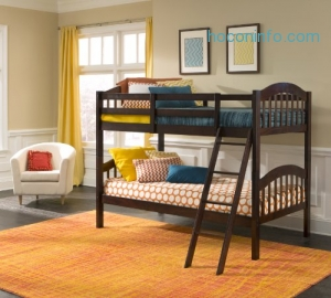 ihocon: Storkcraft Long Horn Solid Hardwood Twin Bunk Bed, Espresso