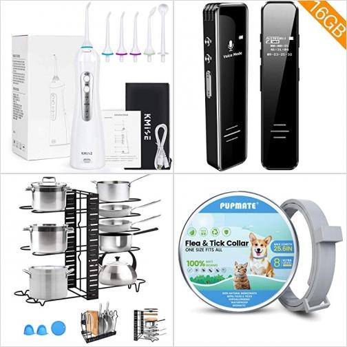 [Amazon折扣碼]無線沖牙機/水牙線, 聲音啓動錄音機, 可調式鍋架, 寵物防蚤頸圈 額外折扣!