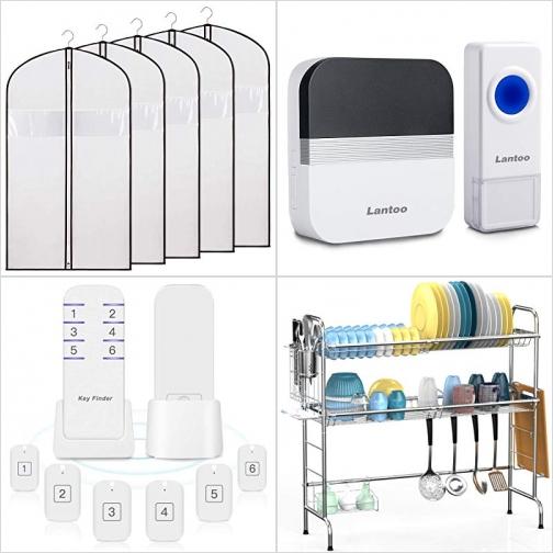 [Amazon折扣碼] 衣物防塵套, 無線門鈴, Key Finder./物品追踪器, 水槽雙層碗架 額外折扣!