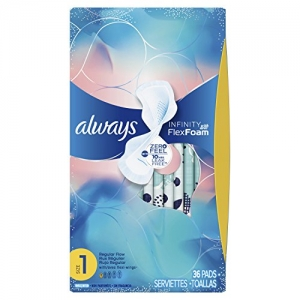 ihocon: Always Infinity Feminine Pads for Women, Size 1, Regular Absorbency, with Wings, Unscented, 36 Count - Pack of 3 (108 Count Total)