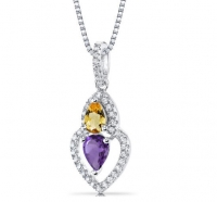 ihocon: peora Amethyst and Citrine Pendant Necklace Sterling Silver Pear Shape 0.75 Carats Total