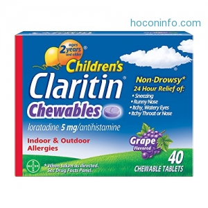 ihocon: Children's Claritin 24-Hour Non-Drowsy Allergy Grape Chewable Tablet, Loratadine 5 mg Antihistamine, 40 Count