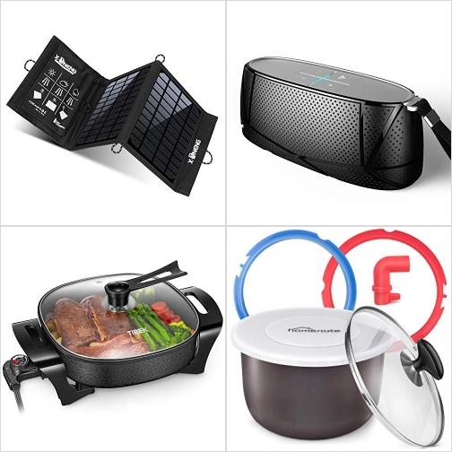 太陽能充電板, 藍芽Speaker, 不沾電煎/煮鍋, 電壓力鍋內鍋/蓋子/矽膠圈/洩壓管 額外折扣!