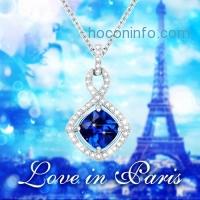 ihocon: GuqiGuli Sterling Silver Created Blue Sapphire Pendant Necklace, 18''純銀人造藍寶石項鍊