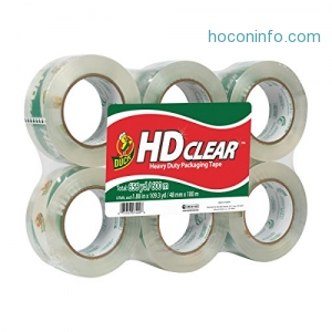 ihocon: Duck HD Clear Heavy Duty Packaging Tape Refill, 6 Rolls, 1.88 Inch x 109.3 Yard, (299016)