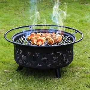 ihocon: Kinbor 30 Inch Outdoor Fire Pit Set with Cooking Grill and Spark Screen烤火爐