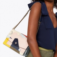ihocon: Tory Burch ROBINSON MIXED-MATERIALS CONVERTIBLE SHOULDER BAG
