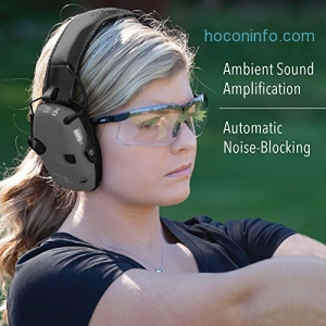 ihocon: Howard Leight by Honeywell Impact Sport Sound Amplification Electronic Shooting Black Earmuff with Genesis Sharp-Shooter Shooting Glasses 消音耳罩+護目鏡