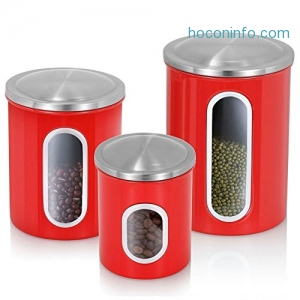 ihocon: 3-Piece Brushed Stainless Steel Nested Canister 不銹鋼食物收維罐