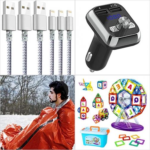 [Amazon折扣碼] iPhone充電線, 汽車免持聽筒, 急難保暖袋, 磁性積木 額外折扣!