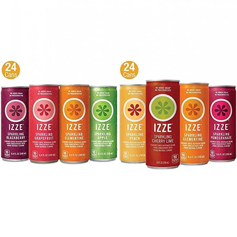 ihocon: IZZE Sparkling Juice, 4 Flavor Variety Pack, 8.4 Fl Oz (Pack of 24) & IZZE Sparkling Juice, 4 Flavor Sunset Variety Pack, 8.4 Fl Oz (24 Count)水果口味氣泡水 48罐