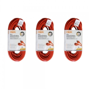 ihocon: HDX 50 ft. 16/3 Light-Duty Indoor/Outdoor Extension Cord (3-Pack) 室內/室外延長線