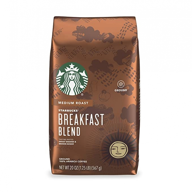 ihocon: 星巴克Starbucks Medium Roast Ground Coffee — Breakfast Blend — 100% Arabica — 1 bag (20 oz.) 中度研磨咖啡粉