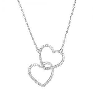 ihocon: Crystaluxe Stacked Hearts Pendant with Swarovski Crystals, Sterling Silver, 18 純銀鑲施華洛世奇水晶項鍊