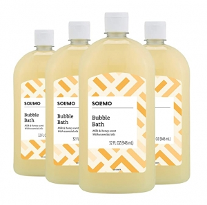ihocon: [Amazon自家品牌] Solimo Milk and Honey Bubble Bath, 32 Fluid Ounce (Pack of 4)泡泡浴皂