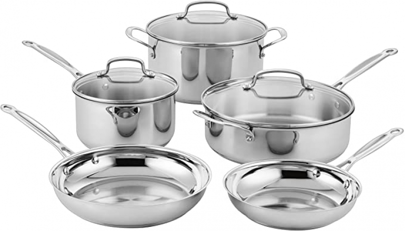 ihocon: Cuisinart Classic Stainless Steel Cookware Set (8-Piece) 不銹鋼鍋組