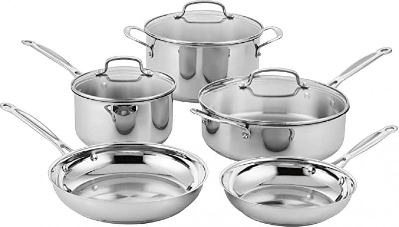 ihocon: Cuisinart Classic Stainless Steel Cookware Set (8-Piece) 不銹鋼鍋組