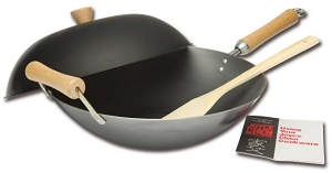ihocon: Joyce Chen 21-9972, Classic Series Carbon Steel Wok Set, 4-Piece, 14吋碳鋼炒鍋