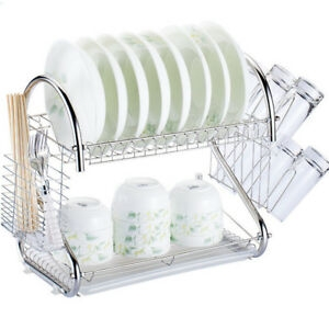 ihocon: 2-Tier Multi-function Stainless Steel Dish Drying Rack,Cup Drainer Strainer 雙層碗盤架