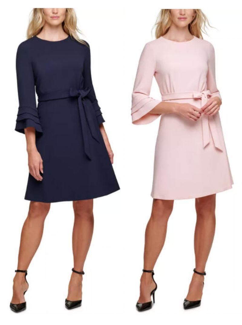 ihocon: DKNY Belted Fluted-Sleeve Dress 女士洋裝