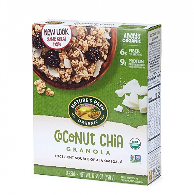 ihocon: Nature's Path Organic Granola Cereal, Chia Plus Coconut Chia, 12.34 Ounce Box有機Granola早餐片, 含椰子片及Chia