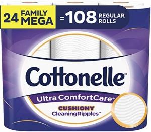 ihocon: [24捲等於108捲的份量] Cottonelle Ultra ComfortCare Toilet Paper, Family Mega Rolls, 24 Count 廁所捲筒衛生紙