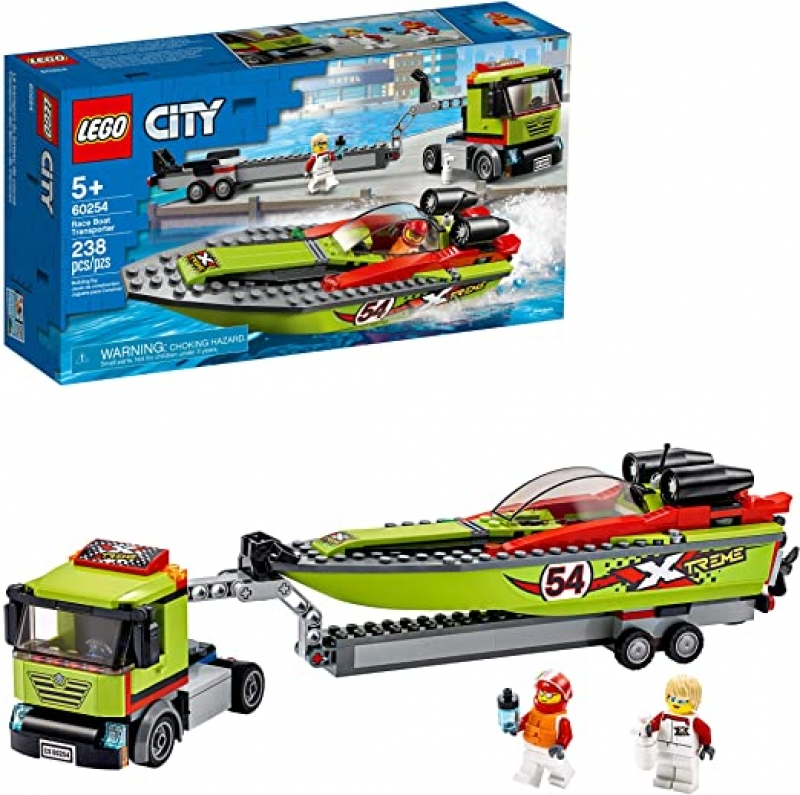 ihocon: [2020新款] LEGO City Race Boat Transporter 60254 Race Boat Toy, Fun Building Set for Kids, New 2020 (238 Pieces)