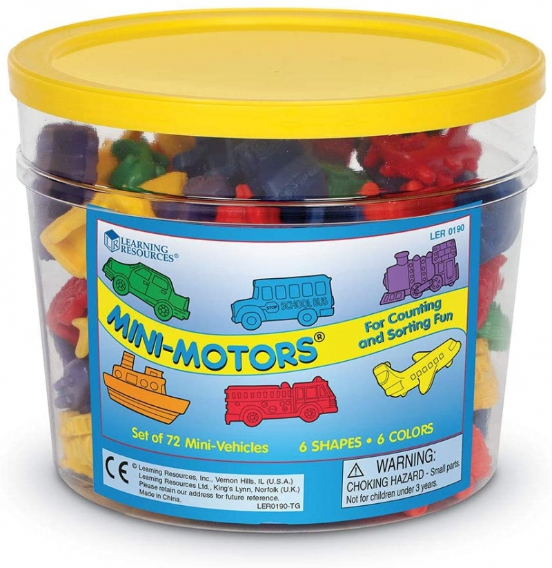 ihocon: Learning Resources Mini Motors Counting and Sorting Fun Set, Early Math Skill, Set of 72 迷你汽車幼兒算數和排序學習教具
