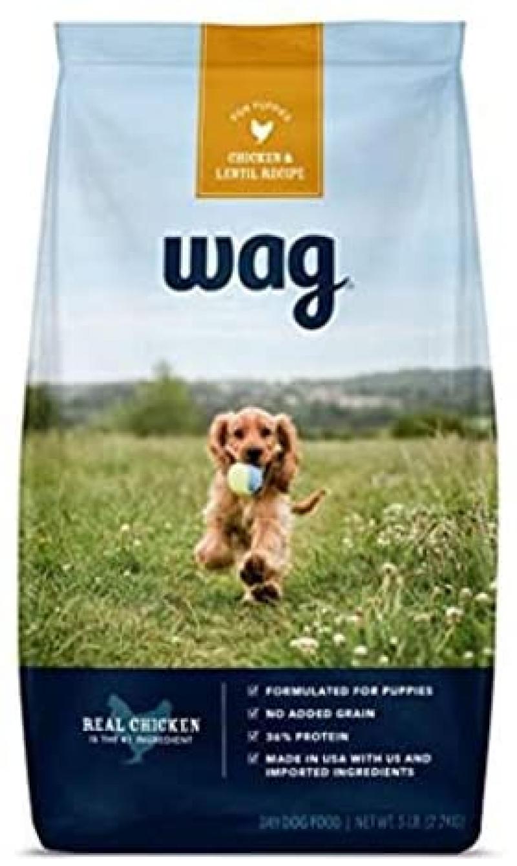 ihocon: [Amazon自家品牌]  Wag Dry Dog/Puppy Food, 35% Protein, No Added Grains (Beef, Salmon, Turkey, Lamb, Chicken) 幼犬狗糧 5磅