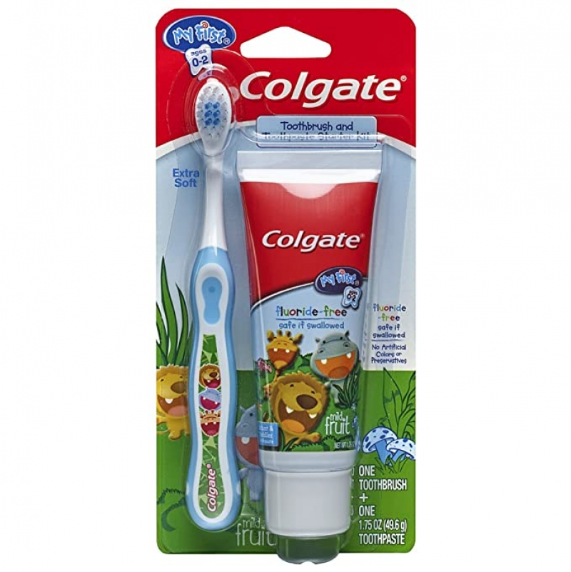 ihocon: Colgate My First Baby and Toddler Toothbrush and Fluoride Free Toothpaste Set for Ages 0-2 Years 高露潔嬰,幼兒牙刷和無氟牙膏套裝