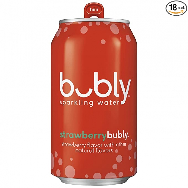ihocon: Bubly Sparkling Water, Strawberry, 12 fl oz Cans (18 Pack) 草莓口味氣泡水