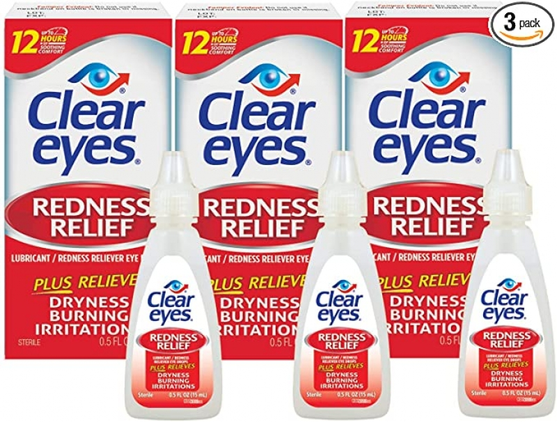 ihocon: Clear Eyes,Redness Relief Eye Drops, 0.5 Fl Oz (Pack of 3) 紅眼緩解眼藥水
