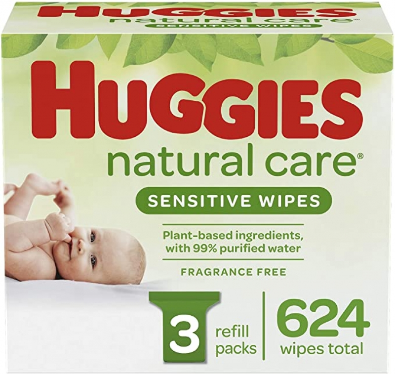 ihocon: Huggies Natural Care Sensitive Baby Wipes, Unscented, 3 Refill Packs (624 Wipes Total) 好奇嬰兒濕紙巾