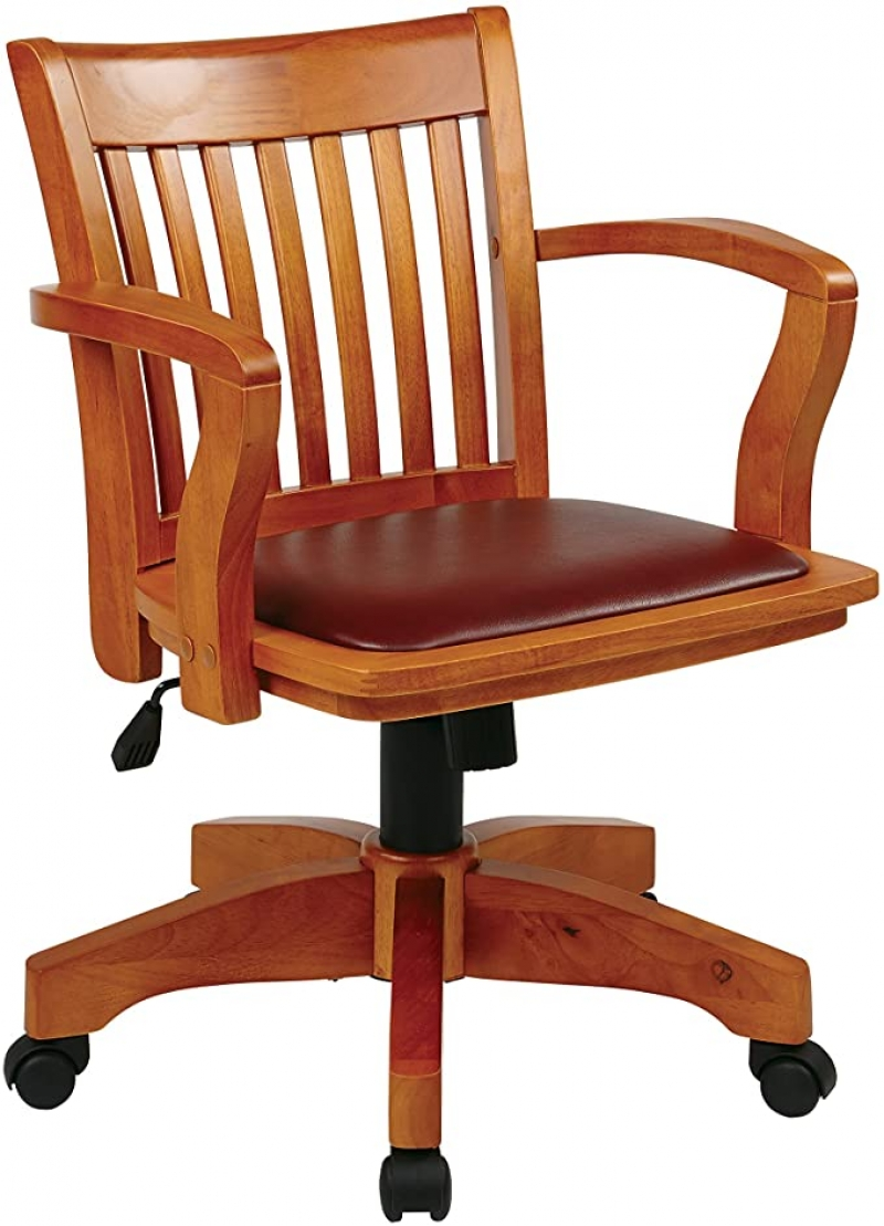 ihocon: OSP Home Furnishings Deluxe Wood Bankers Desk Chair with Brown Vinyl Padded Seat木製辦公椅/電腦椅