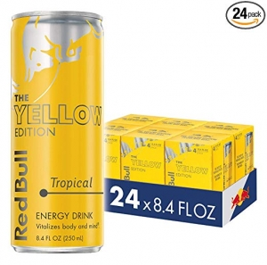 ihocon: Red Bull Energy Drink, Tropical, 24 Pack of 8.4 Fl Oz, Yellow Edition (6 Packs of 4) 紅牛能量飲料,熱帶,24包8.4  ,黃色版(6包4)