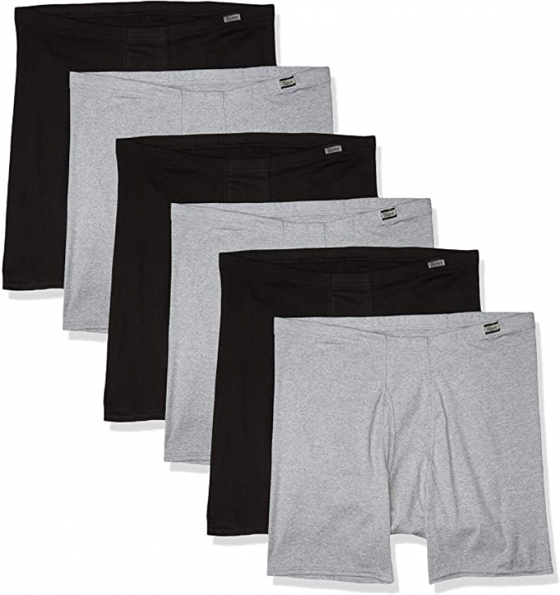 ihocon: Hanes 100% Cotton Men's Tagless ComfortSoft Waistband Boxer Briefs 男士純棉平角內褲 6件