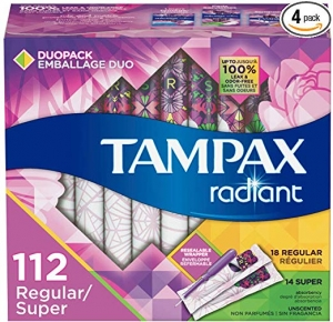 ihocon: Tampax Radiant Plastic Tampons, Regular/Super Absorbency Duopack, 112 Count, Unscented (28 Count, Pack of 4 - 112 Count Total)  衛生棉條