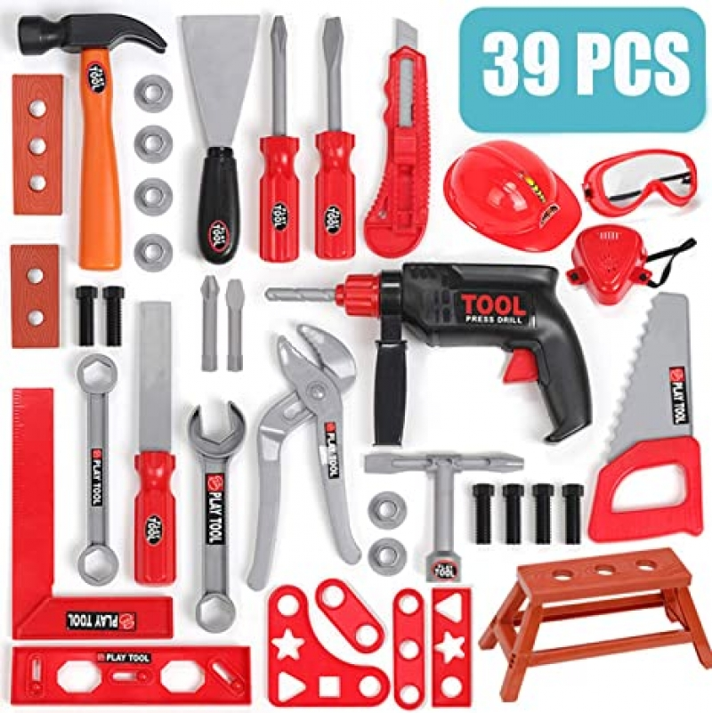 ihocon: BETTINA 39 PCS Kids Tool Set with Realistic Power Toy Drill and Construction Tool Accessories 兒童玩具工具