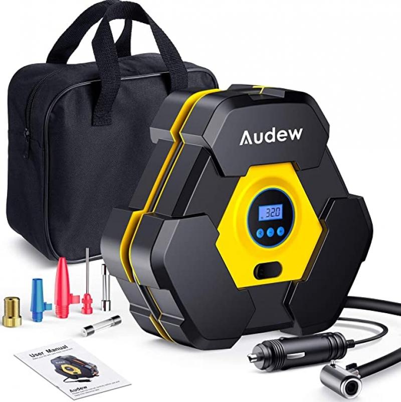 ihocon: Audew Portable Air Compressor Tire Inflator with Gauge 汽車輪胎電動充氣機,含胎壓顯示