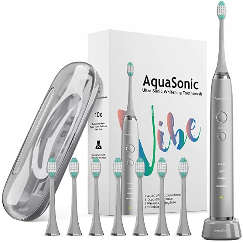 [今日特賣] AquaSonic VIBE系列 美白電動牙刷, 含8個替換刷頭及旅行盒-多色可選 $26免運(原價$36.95)