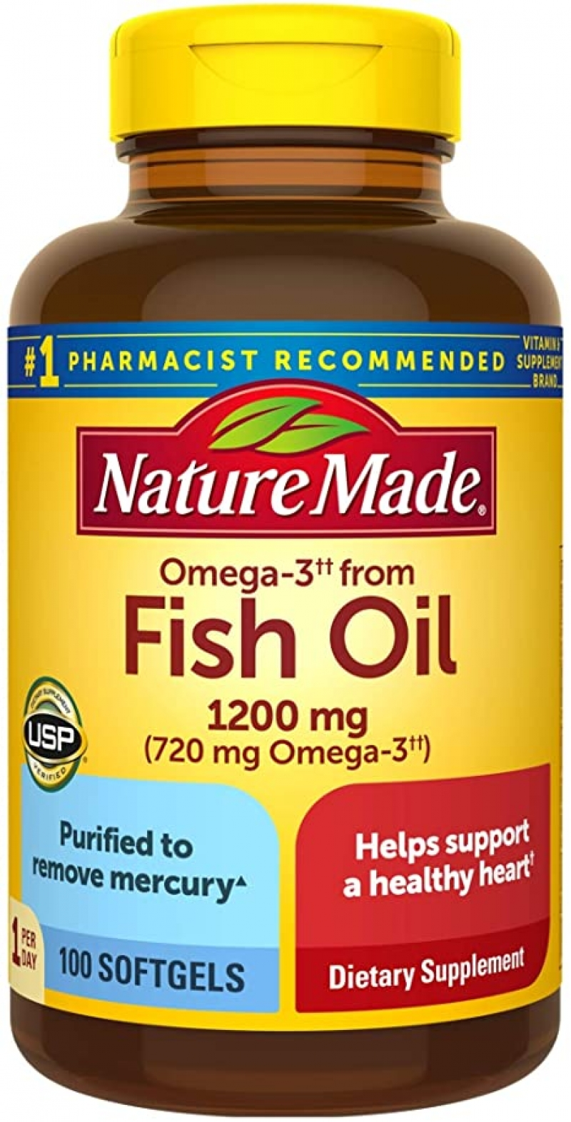 ihocon: Nature Made Fish Oil 1200mg One Per Day, 100 Softgels 魚油