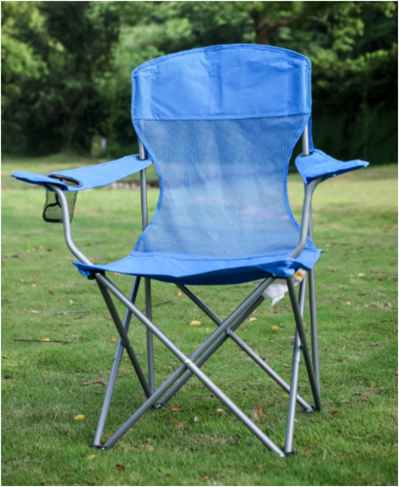 ihocon: Ozark Trail Basic Mesh Folding Camp Chair with Cup Holder for Outdoor, Blue  帶杯架折疊椅