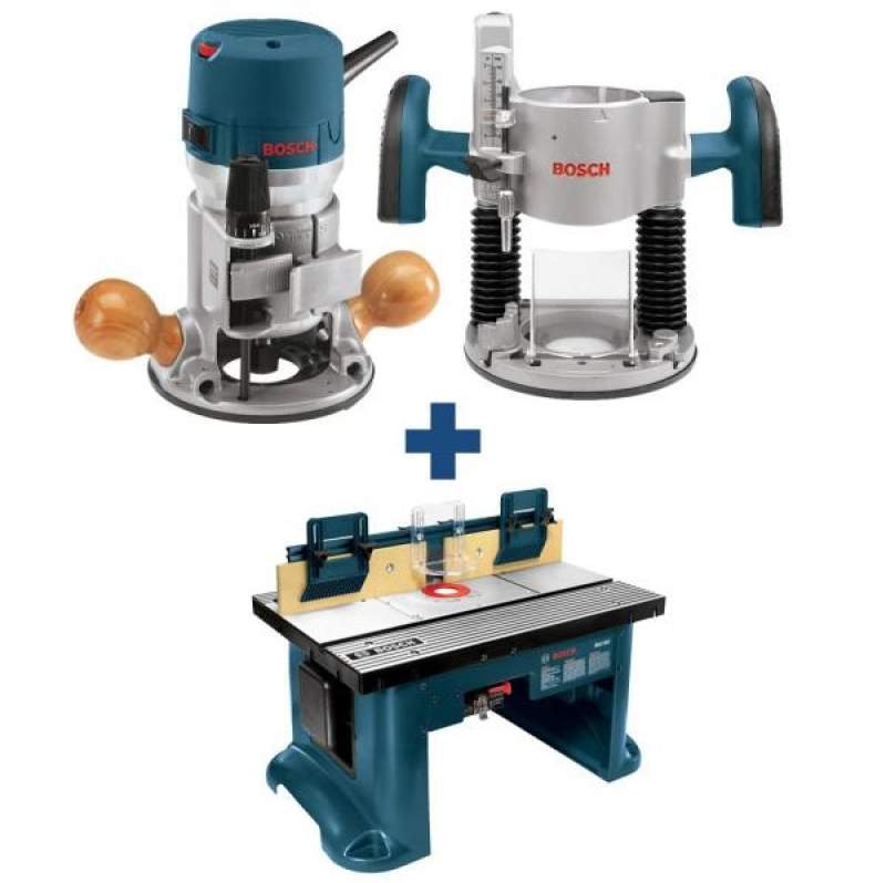 ihocon: Bosch 12 Amp 2-1/4 HP Variable Speed Plunge and Fixed Base Corded Router Kit with Bonus 15 Amp Corded Benchtop Router Table
