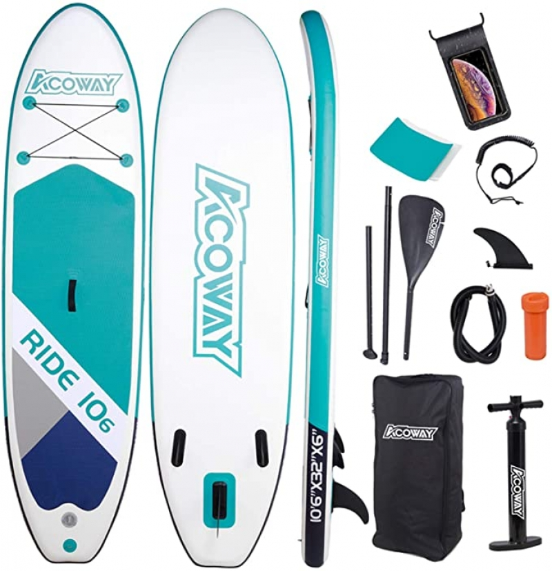 ihocon: Acoway Inflatable Stand Up Paddle Board with Accessories (10'6 Long 32 Wide 6 Thick) 充氣站立槳板及配件