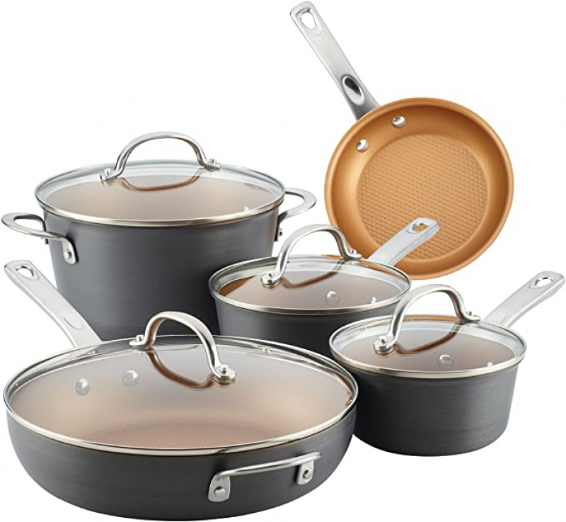 ihocon: Ayesha Curry Home Collection Hard Anodized Nonstick Cookware Pots and Pans Set, 9 Piece 不沾鍋組