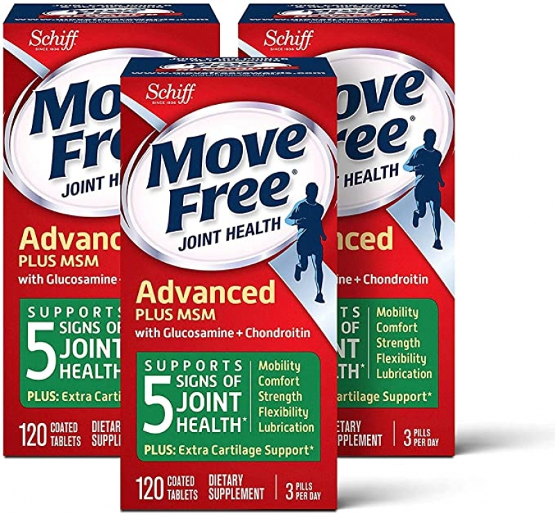 ihocon: Glucosamine & Chondroitin Plus MSM Advanced Joint Health Supplement Tablets, Move Free, Pack of 3 boxes (120 Count In A Box)